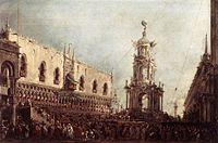 Francesco Guardi - Carnival Thursday on the Piazzetta - WGA10852.jpg