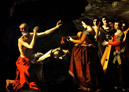 Jerome in the desert, tormented by his memories of the dancing girls, by Francisco de Zurbaran, 1639, Monastery of Santa Maria de Guadalupe Francisco de Zurbaran 023.jpg