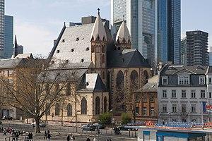 St. Leonhard, Frankfurt - Image: Frankfurt Am Main Leonhardskirche Ansicht vom Eisernen Steg Gegenwart