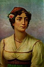 Greek heroine Manto Mavrogenous, by Adam Friedel, 1827.