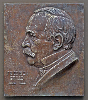 Grillo-Theater - Commemorative plaque for Friedrich Grillo on the south side of the theatre
