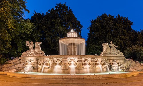 The Wittelsbacher foutain is a monumental fountain at the north border of Munich downtown (Germany).
