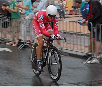 Jakob Fuglsang - Fuglsang riding the 2010 Tour de France prologue in his Danish National Time Trial jersey