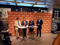 Göran Hägglund, Jan Björklund, Annie Lööf och Fredrik Reinfeldt, 2013-09-09 02.jpg