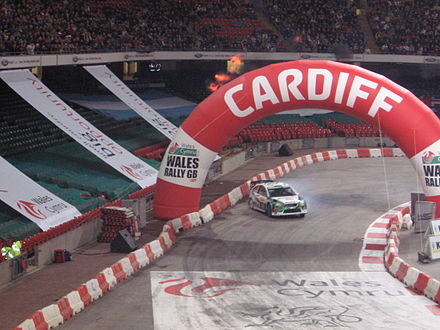 A stage of Wales Rally GB, hosted inside the Principality Stadium GB Rally December 2006.jpg
