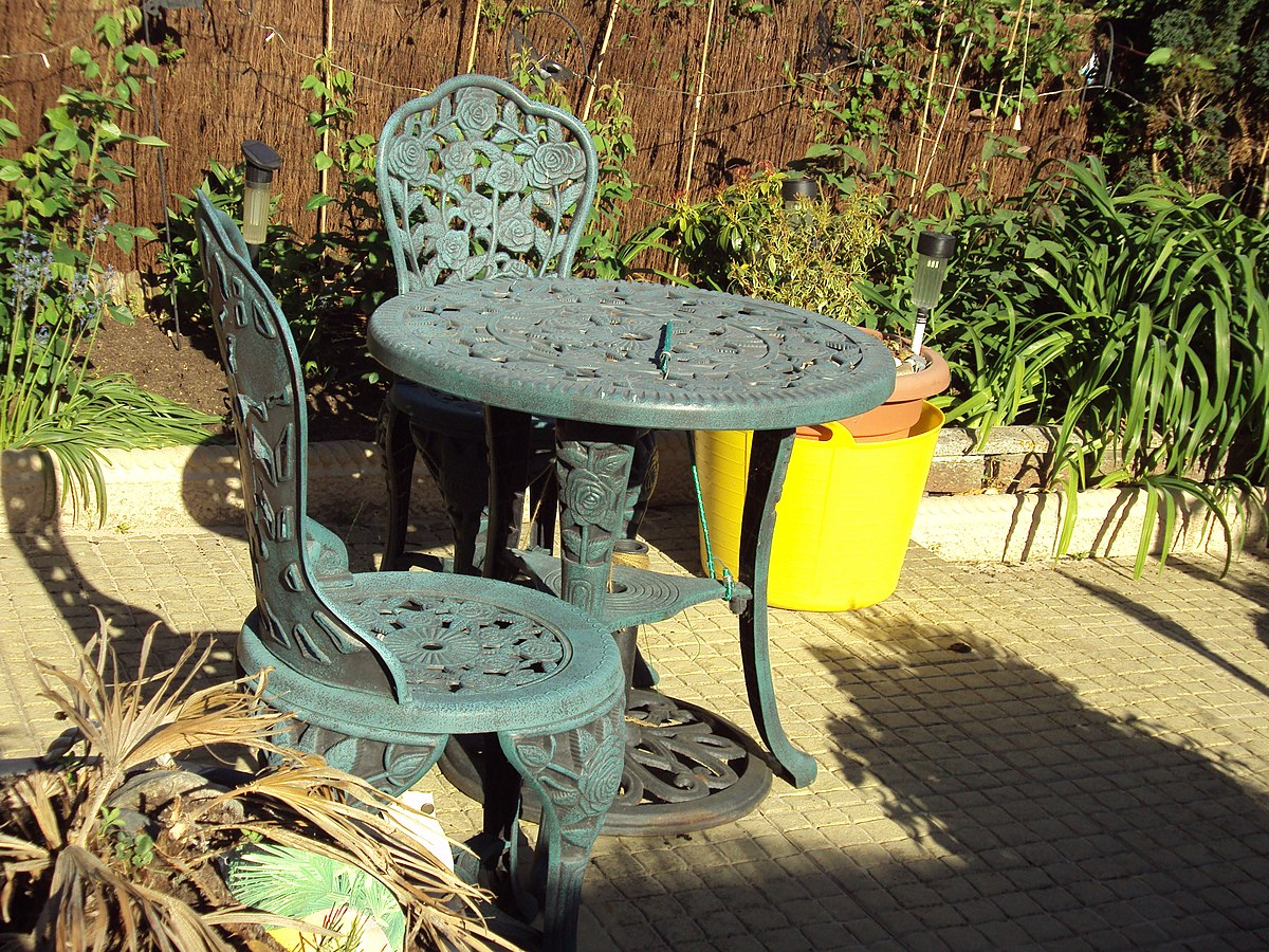 Garden furniture wikipedia for Garden furniture table and chairs