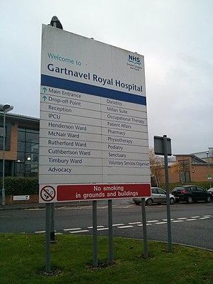 Gartnavel Royal Hospital - Sign at Gartnavel Royal Hospital