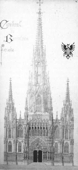 dibujo de gaud para la fachada de la catedral de barcelona segn el proyecto de joan