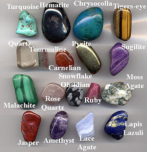 A selection of gemstone pebbles made by tumbli...