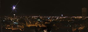 General Roca, Río Negro - A panoramic picture of Gral. Roca at night where fireworks can be seen.