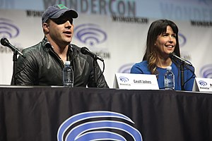 Wonder Woman (2017 film) - DC Films' co-chairman Geoff Johns and director Patty Jenkins at the WonderCon 2017.