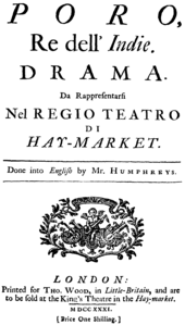 Georg Friedrich Händel - Poro - title page of the libretto - London 1731.png
