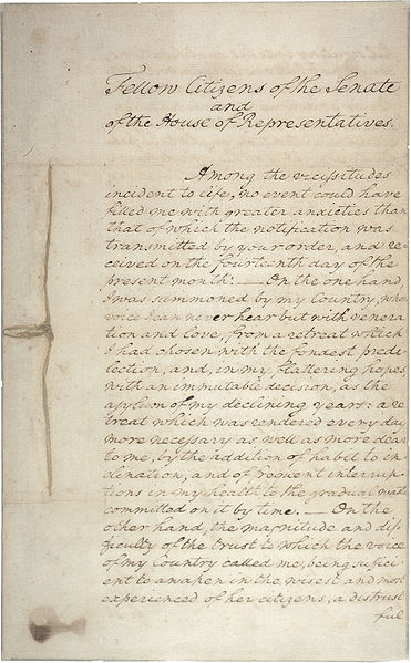 George Washington's First Inaugural Address - 1st page