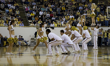 Cheerleaders during a basketball game Georgia Tech cheerleaders 2006.jpg