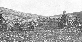Samaritans - Samaritan worship centre on Mount Gerizim. From a photo c. 1900 by the Palestine Exploration Fund.