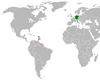 Lage von Deutschland und Suriname