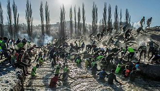 Obstacle racing - Icy watermoat at Getting Tough - The Race