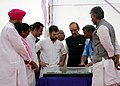 Ghulam Nabi Azad inspecting the model of the PGI Satellite Centre, at the foundation stone laying ceremony of the PGI Satellite Centre, in Sangrur, Punjab. The Minister of State for Health & Family Welfare.jpg