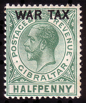 Postage stamps and postal history of Gibraltar - Image: Gibraltarwartax 0,5penny 1918 MR1