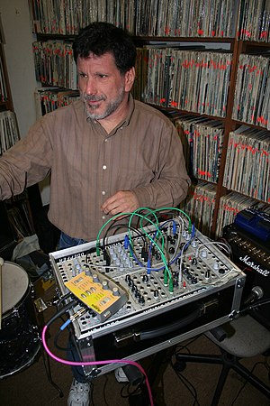 Gino Robair - Robair in 2007 with analog synthesizer (Doepfer/Plan B/Livewire) at KFJC, Los Altos Hills, CA