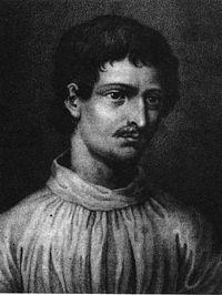 Portrait des Giordano Bruno aus dem Livre du recteur der Universität von Genf von 1578 (Schwarzweiß-Abbildung)