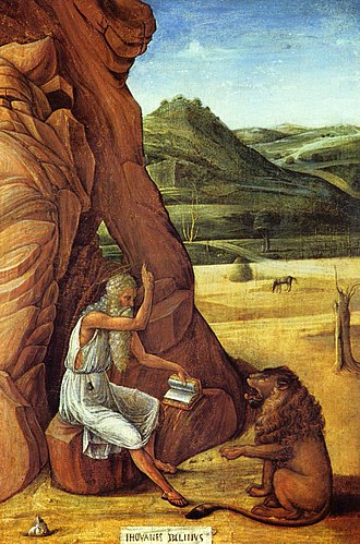 Giovanni Bellini - St. Jerome in the Desert, c. 1455; Tempera on panel; Barber Institute, Birmingham