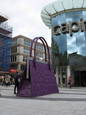 English: Gladrags and handbags! A giant handba...