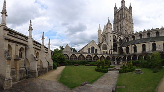 Dean of Gloucester - The cloisters courtyard at Gloucester Cathedral