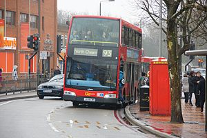 London Buses route 93 - London General Optare Olympus bodied Dennis Trident 2 in Morden in February 2011