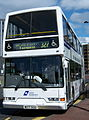 Go North East 3867 Dennis Trident East Lancs Lolyne W177 SCU DFDS ferry bus livery in Newcastle 9 May 2009 pic 1.jpg