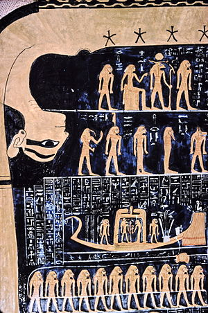 Egyptian astronomy - Nut, Egyptian goddess of the sky, with the star chart in the tomb of Ramses VI