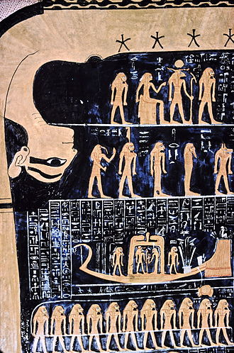 Egyptian calendar - The sky goddess Nut and human figures representing stars and constellations from the star chart in the tomb of Ramses VI.