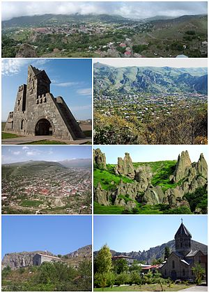 از بالا چپ: نمایی Panoramic از گوریسGoris gate • کوهستان زنگه‌زور اطراف گوریسافق مریی گوریس • Stone-pyramids of Old KoresSurp Hripsimé Basilica • Saint Gregory Cathedral