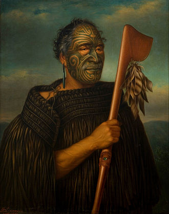 Tā moko - Portrait of Tāmati Wāka Nene by Gottfried Lindauer (1890)