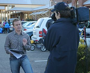 Grant Denyer - Denyer filming a weather segment for Sunrise