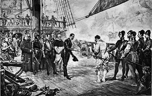 Francis Drake accepting surrender of the Andalusian flagship Nuestra Senora del Rosario, on board The Revenge during the Spanish Armada, 1588 Great Men and Famous Women Volume 1 - THE ADMIRAL OF THE SPANISH ARMADA SURRENDERS TO DRAKE.jpg