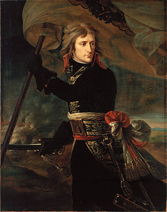 Army of Italy (France) - General Napoleon Bonaparte, commander of the Armée d'Italie on the bridge at Arcole