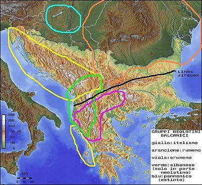 I principali gruppi di lingue romanze nei Balcani