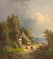 Guido Hampe - Seenlandschaft mit Figurenstaffage und reetgedeckter Hütte 1871.JPG