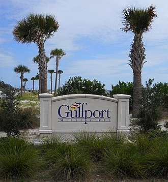 Gulfport, Mississippi - Highway sign along U.S. Route 90