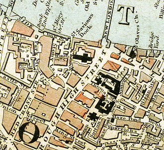 Guy's Hospital - The location of Guy's and St Thomas' hospitals c.1833