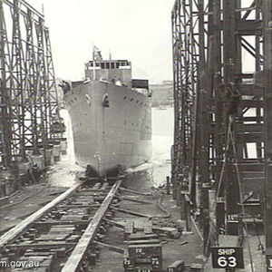 HMAS Dubbo being launched