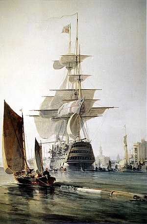 Three-decker - Three-decker ''Britannia'' in Portsmouth Harbour, 1835