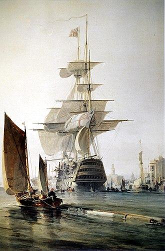 Three-decker - Three-decker Britannia in Portsmouth Harbour, 1835