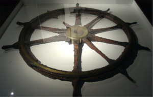 HNoMS Norge - The emergency steering wheel from Norge, retrieved from Narvik harbour by divers in 1983