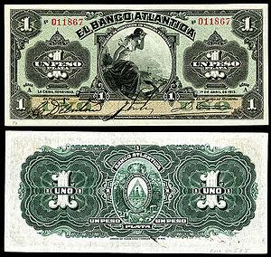 Honduran peso - Banco Atlantida, Honduras 1 Peso banknote (1913)