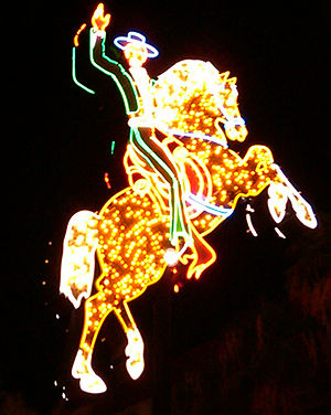 English: The neon Horse and Rider from the Hac...