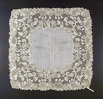 Youghal lace - Wedding handkerchief of linen trimmed with Youghal lace