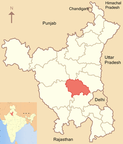 Location of Rohtak district in Haryana