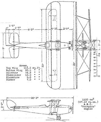 Hawker Cygnet - Hawker Cygnet 3-view drawing from NACA-TM-289